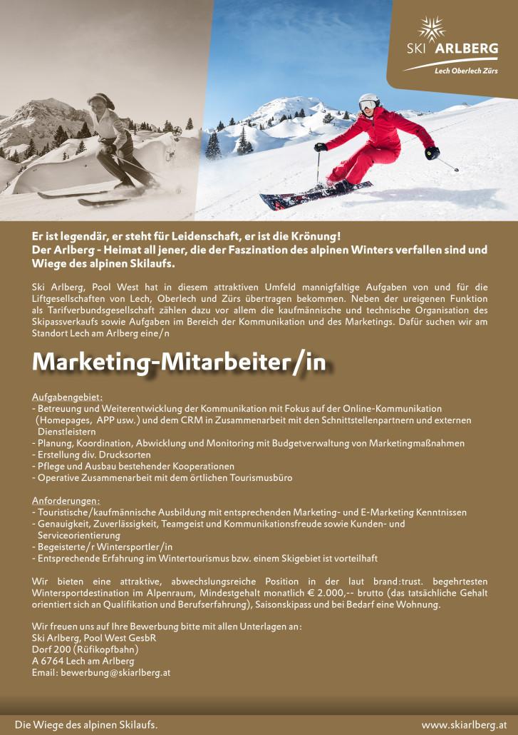 Stellenausschreibung Marketing
